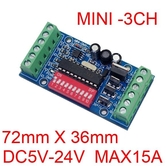 10 pieces frete grátis MINI 3 canais DMX512 RGB controlador fácil 3CH DMX512 decodificador DC5 24V entrada de cada canal max 15A