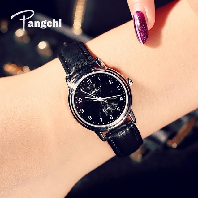 PANGCHI Brand Casual Leather Lady Watch Waterproof Small Dial Quartz Wristwatche