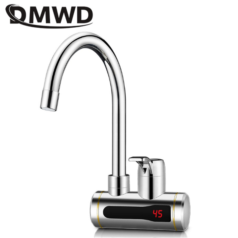 DMWD Instant Tankless Electric Hot Water Heater Faucet Kitchen Instant Heating Tap Water Heater With LED Temperature Display EU