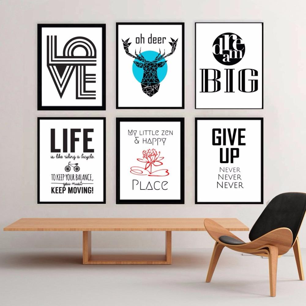 Nordic Abstrakte Wandkunst Inspirational Print Poster Wand Bilder Elch  Hauptdekorationen Für Wohnzimmer Leinwand Malerei(China