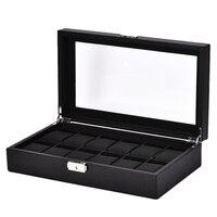 12 그리드 시계 상자 블랙 탄소 섬유 외부 pu 가죽 내부 베개 케이스 스토리지 스토리지 박스 시계 브래킷