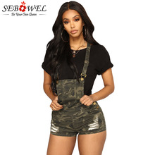 SEBOWEL Camouflage Ripped Shorts Overalls for Woman 2019 Summer Female Ladies Camo Print Holes Army Green Casual Ovralls S-XXL цена