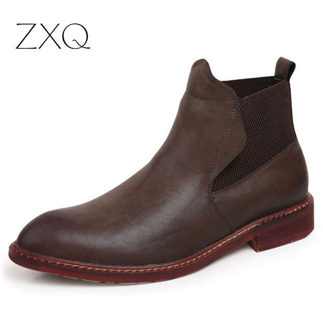 Fashion Chelsea Boots Men British Retro Sewing Thread High Top Elastic Band Leather Men Boots Black Brown Men Boots Shoes