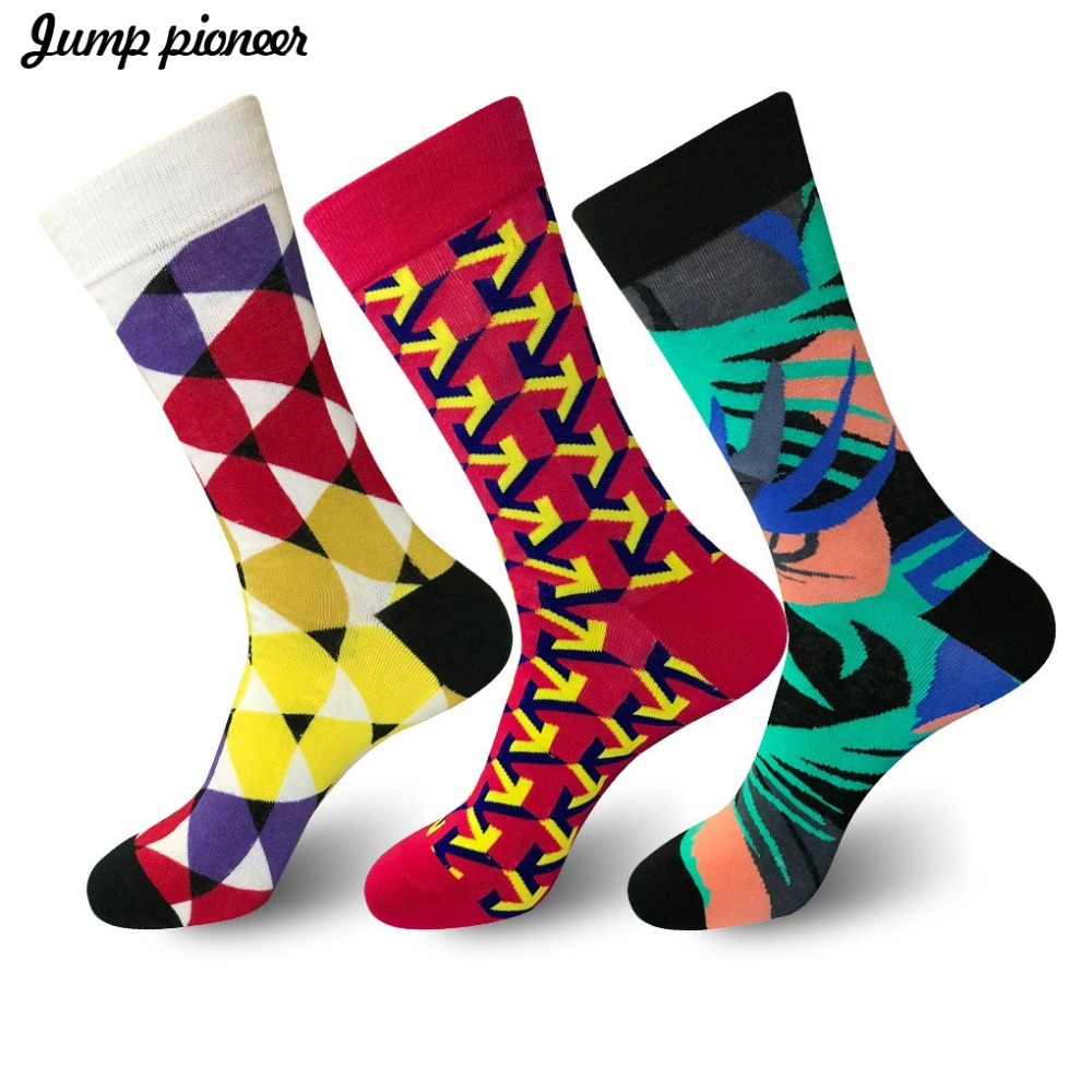 Men's Socks Jump Pioneer Mens Socks Happy Colorful Cotton Funny Hip Hop Street Style Sock For Male Wedding Birthday Party Gifts Funny Socks