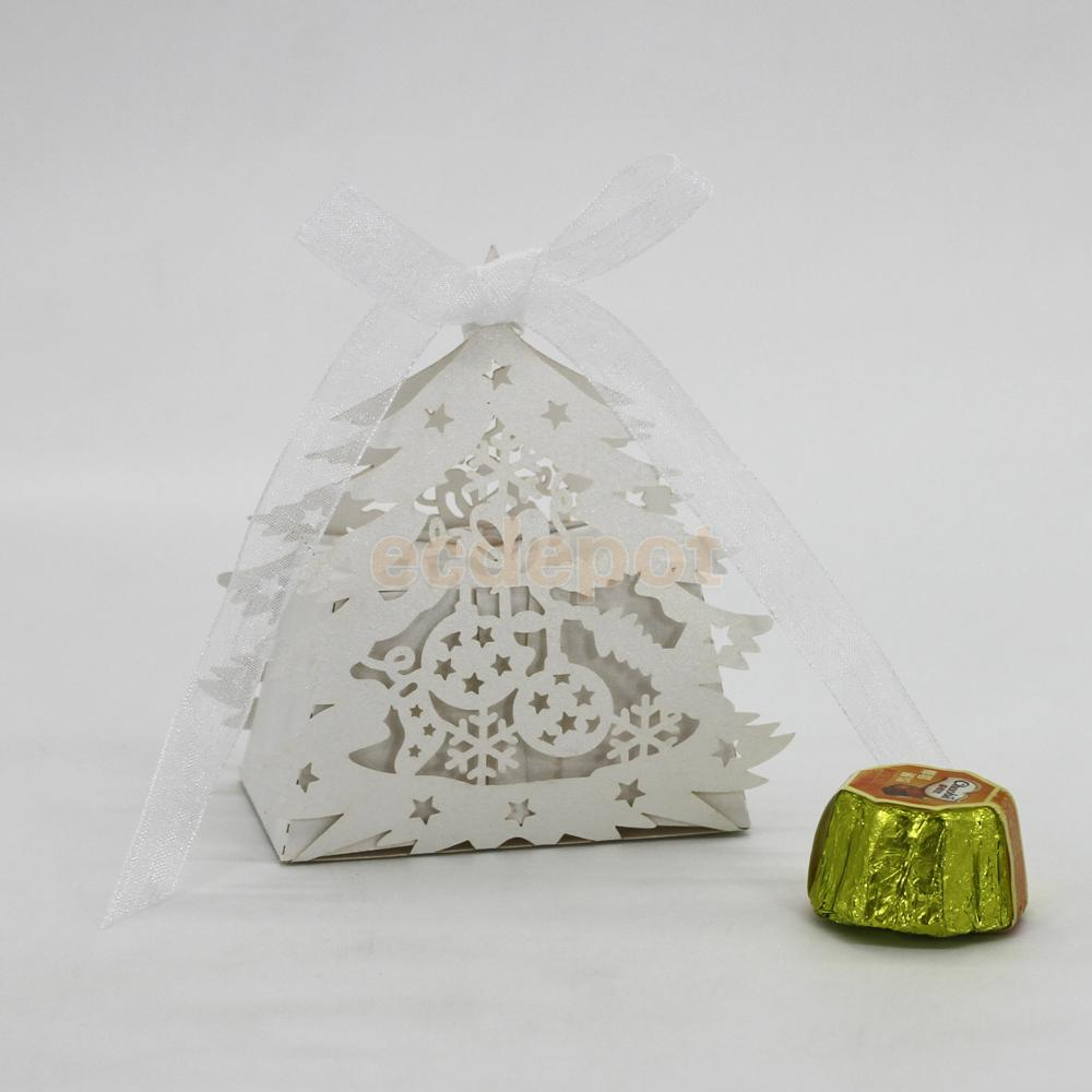 Pack of 20pcs Christmas Tree Gift Candy Boxes with Ribbon Wedding ...