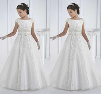 2019 First Communion Dresses Princess White Flower Girl Dresses A Line Little Girl Kind Birthday Party Gown vestidos de comunion