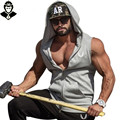 Muscle Sleeveless Hoodie Singlets Sweatshirts Mens Tank Tops Stringer Bodybuilding Fitness Men's Tank Tees Shirts Workout Vest
