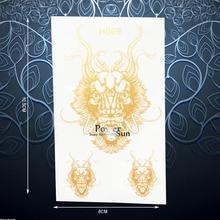 1PC Flash Dragon Head Temporary Tattoo Sticker For Men Women Body Art Decals Waterproof Gold Metallic Tattoo Stickers Taty PGH09