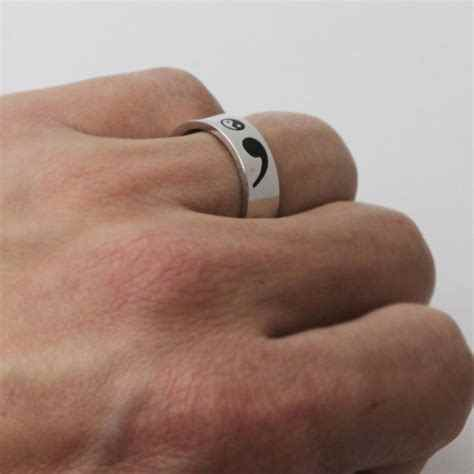 Unisex Stainless Steel Semicolon Jewelry Semicolon Ring Aliexpress Top-selling Accept Drop Shipping YP3920