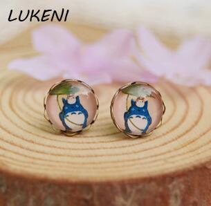 1 Pair Trendy Anime Totoro Stud Earrings For Miyazaki Hayao Figure Jewelry Round Glass Earrings Men Women Birthday Gifts ...