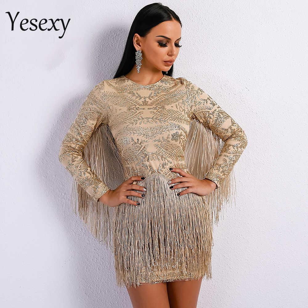 a784fc13edad9 Yesexy 2019 Sexy O Neck Long Sleeve Tassel Glitter Elegant Gold Dress  VR8580-1