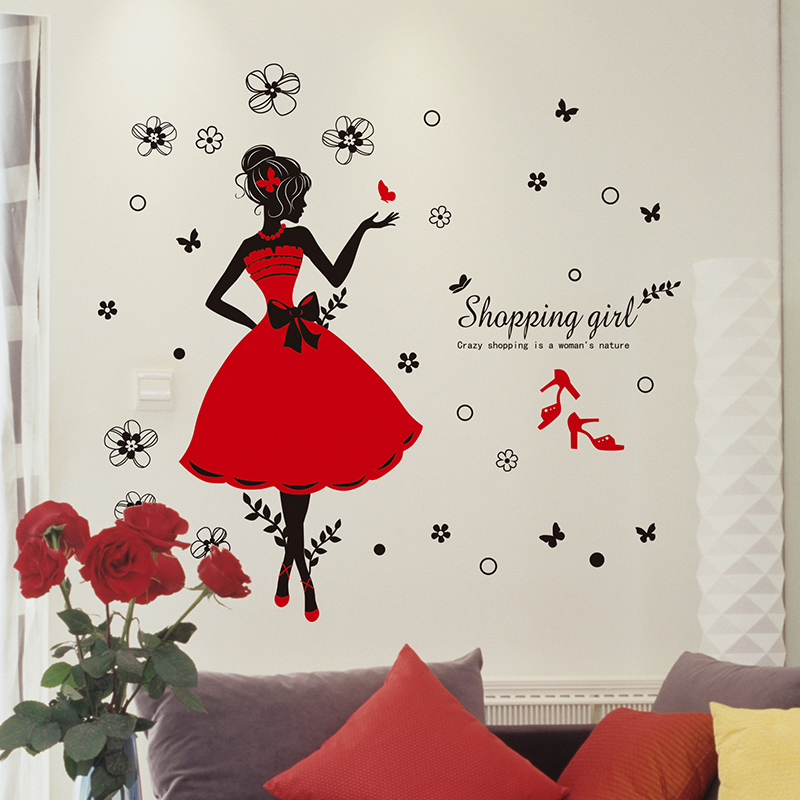 crazy shopping lady wall stickers shop decor pvc red skirt merry christmas quote wall sticker wall sticker shop