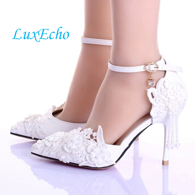Summer New Women White Wedding Shoe Lace Flower Tassels Ankle Strap Bride Shoes Female Hollow