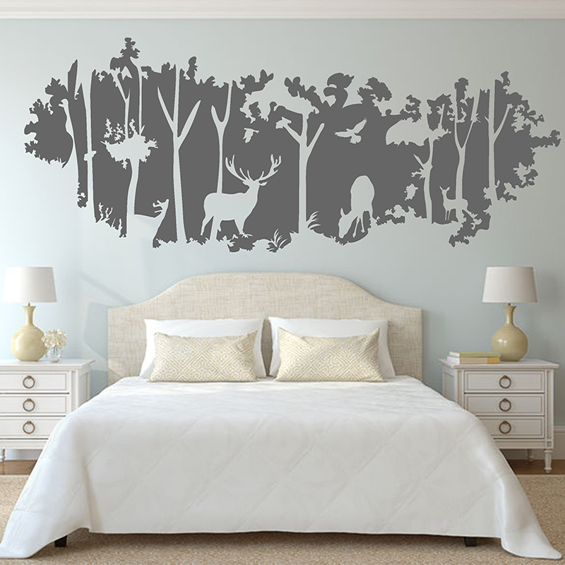 Forest wall sticker animal deer birds jungle mural for Bedroom wall mural designs