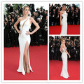 CD04 Sexy Celebrity Dress Cannes Festival 2015 Doutzen Kroes One Shoulder Deep Side Slit Evening Gowns Celebrity Evening Dresses