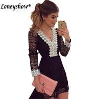 Black And White Patchwork V Neck Long Sleeve Casual A Line Dresses Women Fashion Lace Dress