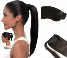 18 20 22 100 Indian Remy Black Human Hair Ponytail Color 1 1B Black Human Hair