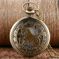 Steampunk Women Necklace Chain Capricorn Pendant Cool Pocket Watch Zodiac Bronze Constellation Hollow Half Hunter Men