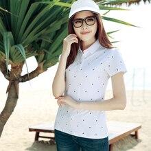 Womens Summer Polo Shirt Snow Printing Polos Women Polo Shirt Cotton Casual Outdoorshort Sleeve Summer Womens Polos Top