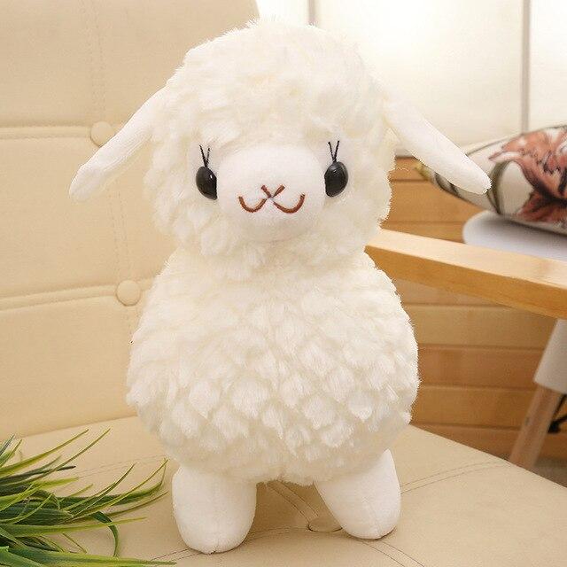 35 centímetros Bonito Dos Desenhos Animados Ovelhas Alpaca Branco Brinquedos de Pelúcia Para As Crianças Do Bebê de Algodão Macio Fluff Engraçado Brinquedos De Pelúcia Bonecas de Nano crianças Presentes