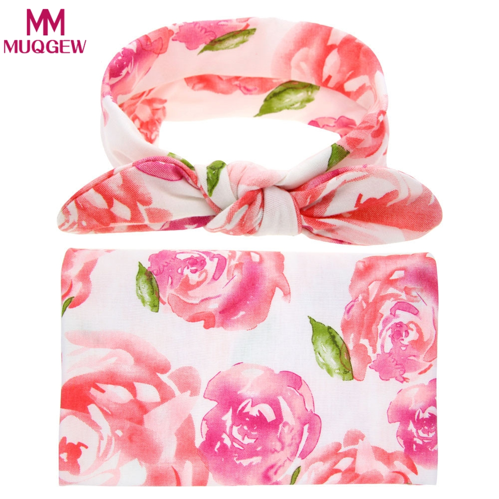 MUQGEW Baby Photography Props Blankets Newborn Cloth towels Wrap Girls Hair Accessories swaddle Blanket Cloth towels+Hair Band