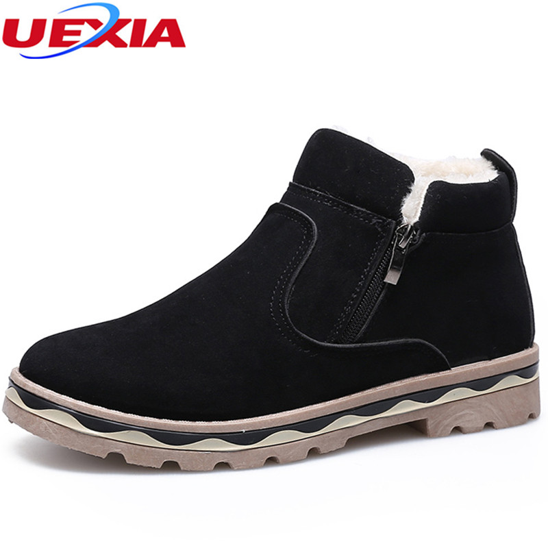 UEXIA Shoes Men Ankle Snow Boots Slip On Winter Warming Fur Ski Antiskid Bottom Zapatillas Hombre Botas Footwear Comfortable uexia women winter warm snow shoes casual flats increased shoes woman fur inside comfortable slip on botas zapatos mujer flock