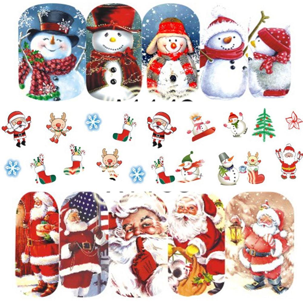 12PCS Christmas Snowman Tree Boots Bells Deer Water Transfer Nail Art Sticker Decal Slider Manicure Wraps Tool Tips JIA1129-1176