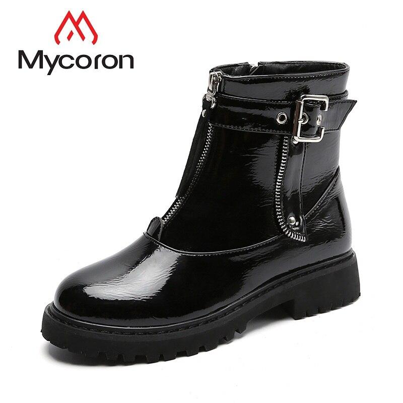 Mujeres Zapatos Genuino Felpa Invierno Martin Botas Cuero Mycoron De warm Winter Mujer Señoras Calientes black Punta Hembra Redonda d5gqHxdwI