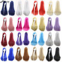 80 Cm Long Straight Wig Perruque Cosplay Costume Anime Blonde Gray Heat Resistant Synthetic Hair Wig Lolita Women Pelucas