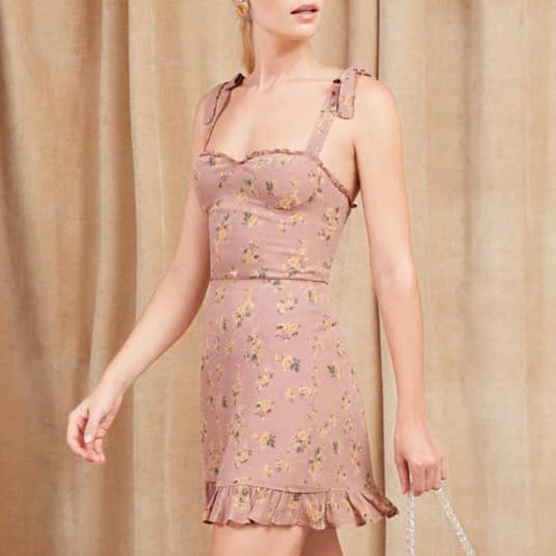 40ebfeb2bc169 NLW Summer Sexy Off Shoulder Pink Print Short Dress Women 2019 Holiday  Strap Backless Party Floral Dress Girls Dress Vestidos
