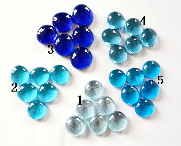 Blue Glass Beads 60 Pcs Craft Gift Mixed Color Pebbles Stones For