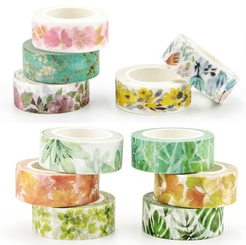 Romantic Floral Paper Washi Tape 15mm*7m Flowers Masking Tapes Decorative Stickers DIY Stationery School Supplies 1