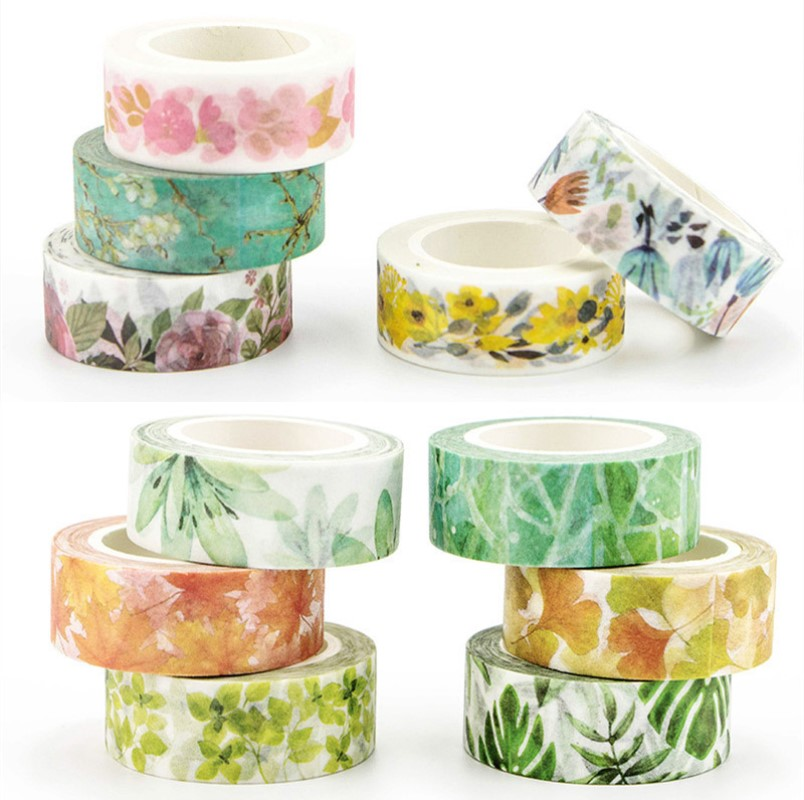 Romantic Floral Paper Washi Tape 15mm*7m Flowers Masking Tapes Decorative Stickers DIY Stationery School Supplies