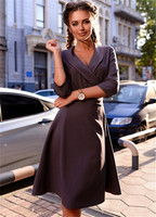 2017 Fall Casual Womens Office Dress Autumn Winter Prom Vintage Party Midi Bodycon Dresses Plus Size