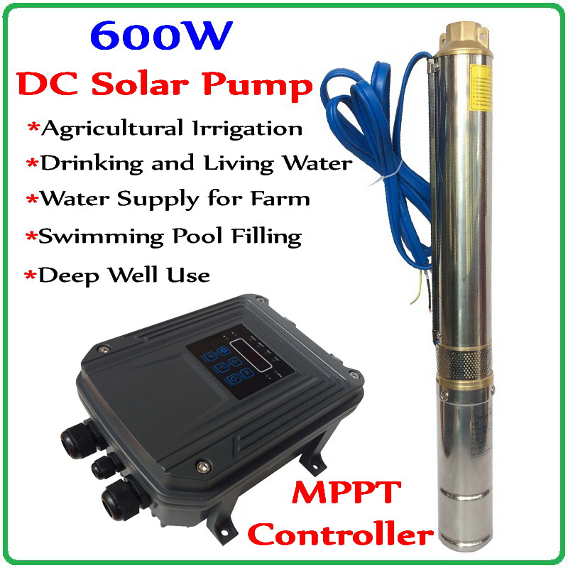 DC Solar Deep Well Pump with MPPT Controller low pressure high speed centrifugal pump with permanent