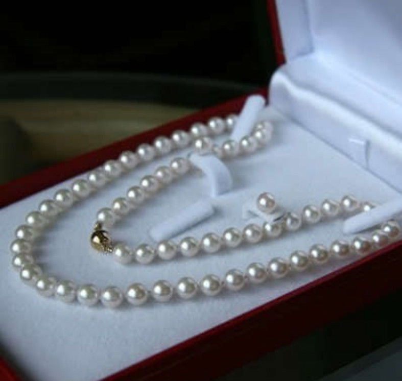 New 7-8MM White Akoya Pearl Shell Necklace Earring Gold-Color Jewelry Rope Chain Pearl B ...