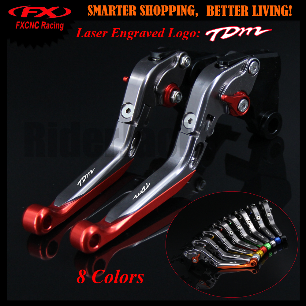 Laser New Logo Red+Titanium For <font><b>Yamaha</b></font> <font><b>TDM</b></font> <font><b>900</b></font> TDM900 2002-2004 <font><b>2003</b></font> CNC Motorcycle Adjustable Extendable Brake Clutch Levers image