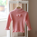 kids knitted sweater Spring autumn new style baby girls turtleneck sweater children fashion cute simple pink bottoming sweater