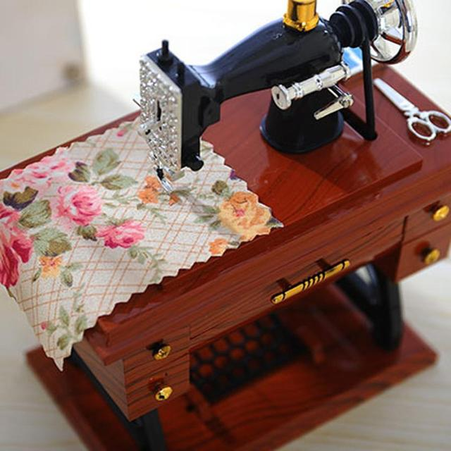 Vintage Music Box Mini Sewing Machine Style Mechanical Birthday Gift Mesmerizing Drop In Sewing Machine Table