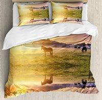 Природа Набор пододеяльников для пуховых одеял набор лошадь Valley в южной с озеро отражение и Защита от солнца рост выше горы принт, 3 предмета