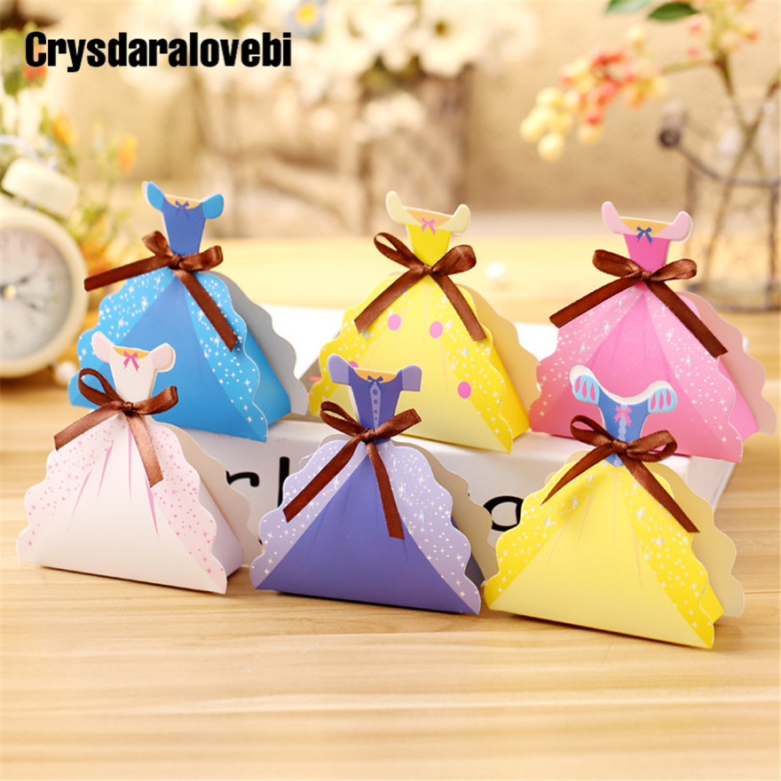 12pcs/lot Princess Dress Paper Candy Box Wedding Gift Bag Snow White Christmas Candy Boxes Birthday Party