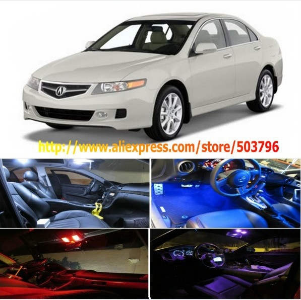 Free Shipping 5Pcs/Lot car-styling LED Interior Package Combo Kit High Power LED Dome Lights For Acura TSX 2004-2008