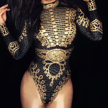 Women Fashion Sexy Glisten Black Gold Crystals Bodysuit Long Sleeves Outfit Dance Stage Show Nightclub Costume Team Performance