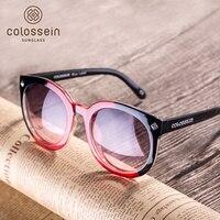COLOSSEIN Óculos De Sol 2017 Primavera Marca Designer de Moda Óculos De Sol Redondos Quadro Oceânica Lente Cor Para As Mulheres Estilo Da Praia Do Mar