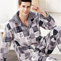 2017 New Spring Autumn Winter coral fleece Men Sleepwears Male Set plus size XXXL Thick flannel lounge long-sleeve Pajama Sets