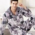 2017 Nueva Primavera Otoño Invierno Hombres de lana de coral Pijamas Conjunto Masculino más el tamaño XXXL salón de franela Gruesa de manga larga Conjuntos de pijamas