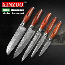 5 pcs kitchen knife set 73 layer Japanese VG10 Damascus steel kitchen knife cleaver chef utility knife wood handle free shipping