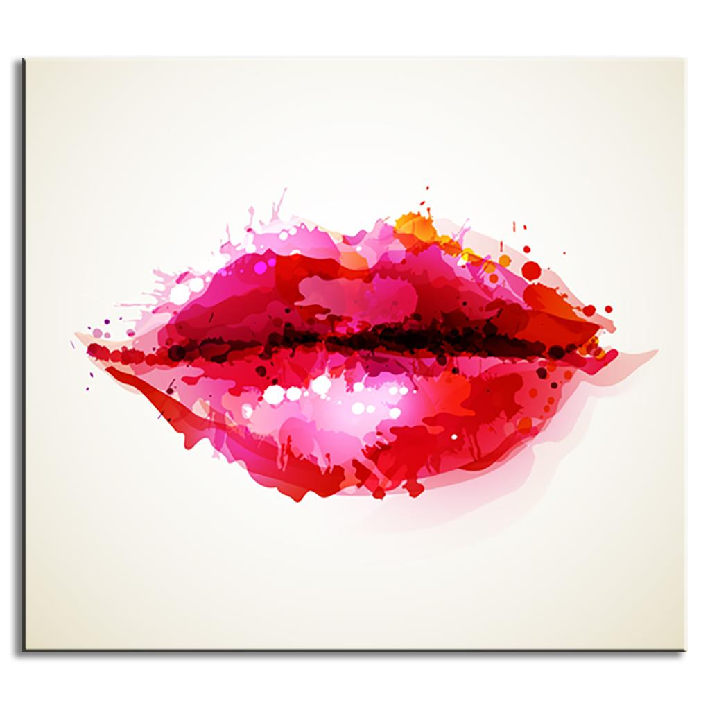 Impressionist Abstract Red Lips Canvas Painting Modern