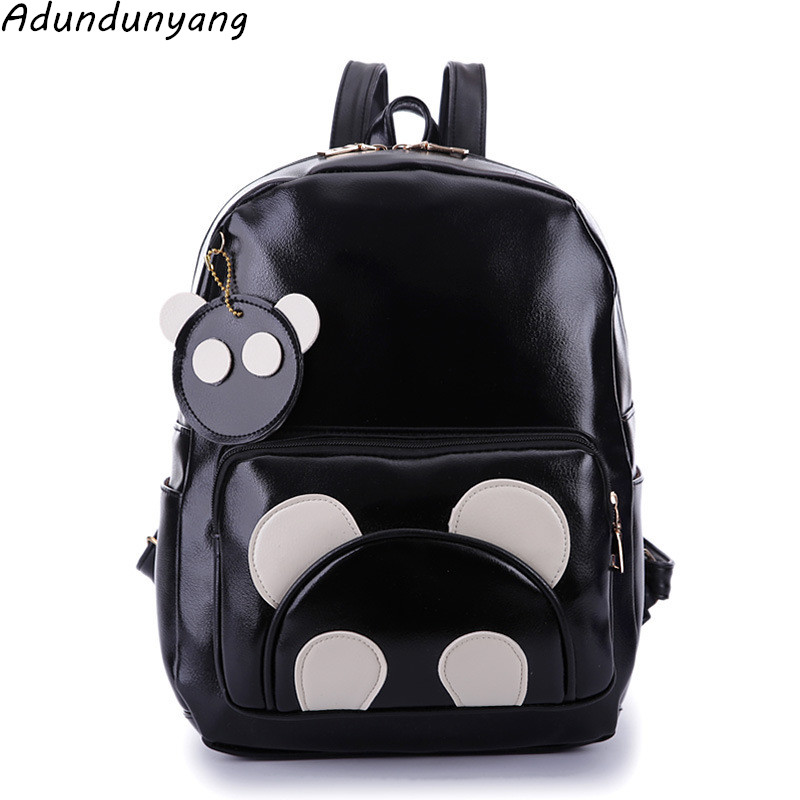 Fashion Cute Bear Backpack Women Cartoon School Bags For Teenagers Girls PU Leather Women Backpack 2016