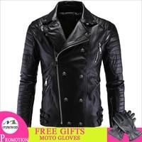 Motorcycle Jacket PU Leather Men Vintage Retro Moto Faux Punk Leather Jackets Motorcycle Clothing Coats Slim Fit Size M 5XL